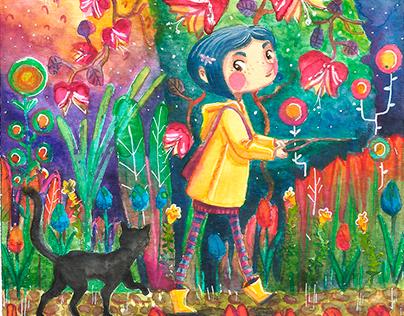 """Coraline"" Watercolor process"