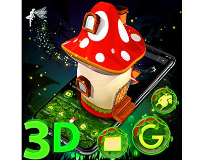 3D Mushroom Launcher Theme 🍄