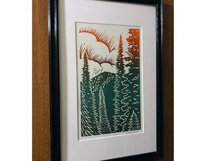 Hurricane Ridge block print and digital sketch