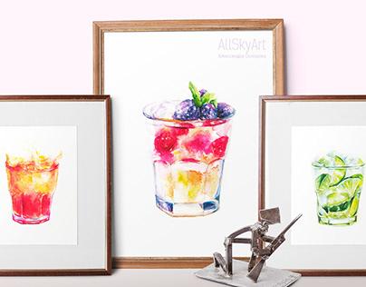 Watercolor cocktails