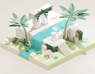 Ancient island - 3D lowpoly Modeling & Texturing