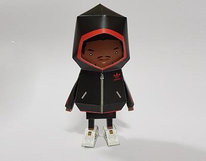 031_Adidas Hoodie Black [Paper Toy Boogie Hood]
