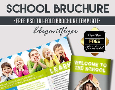 School Free PSD TriFold PSD Brochure Template On Behance - Tri fold school brochure template