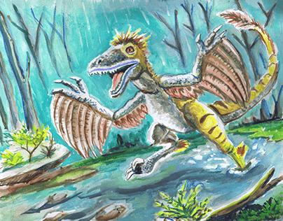 Dinosaur Watercolor Paintings