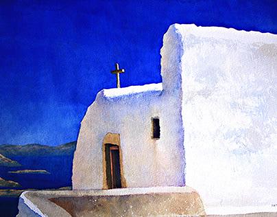 Watercolour Patmos Πάτμος