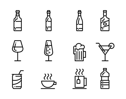 Drinks - Lipo Outline Icon Set