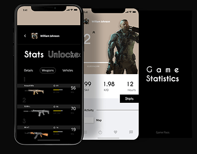 Mobile App UI UX for Game Stats