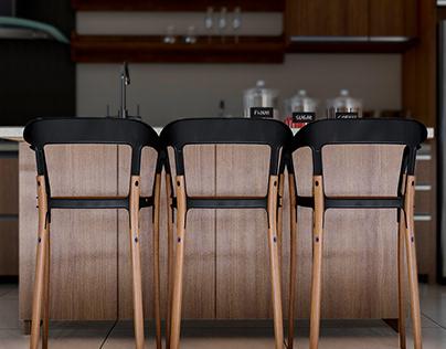 Casa de campo - Detalle de sillas para barra
