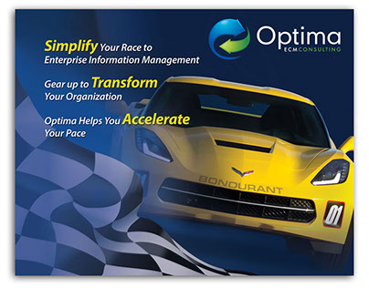 Optima ECM Consulting Trade Show Booth Background Wall