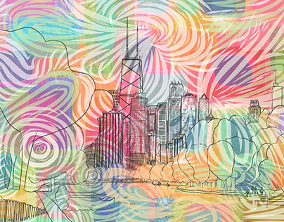 Chicago Skyline Collage and Digital Illustration