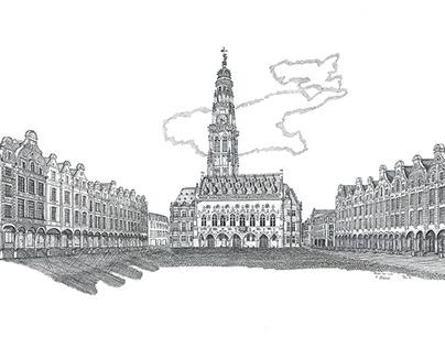 La Place des Héros d'Arras - dessin à l'encre