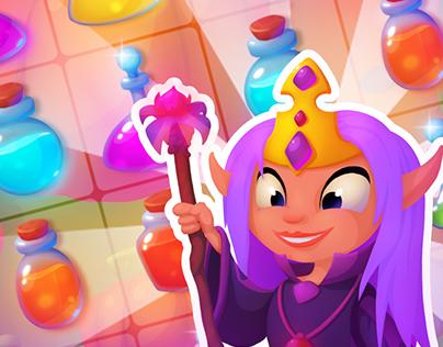 "Match 3 game ""Fairy Potions Mix: Puzzle Pop"""