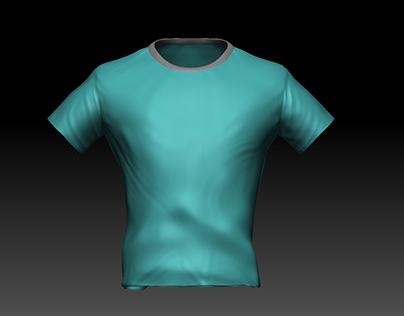 Turquoise t-shirt sculpture
