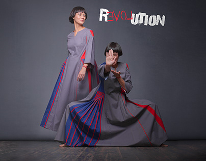 "Squareroot5 Poster Dress ""REVOLUTION"""