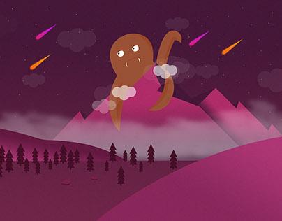 Illustration - Monster On Mountain