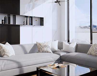 Modern Living Room 3D Interior Animation