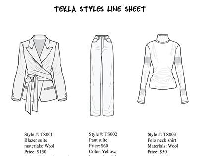 garments product Line sheet