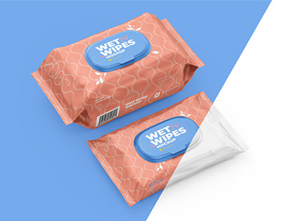 Wet Wipes Mockup. Large and small packaging