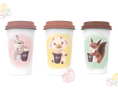 Design of paper cups for cafe   cute animal