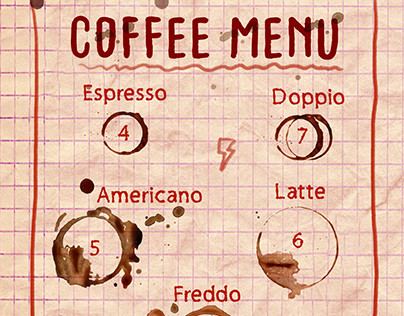 Coffee Menu For Student Cafe
