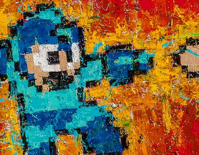 Megaman & Quickman - Acrylic on canvas (2016) - Sold