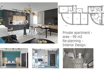 Private apartment - area - 99 m2 Re-planning - Interior