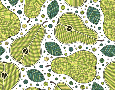 Seamless pattern with pears. Doodle style.