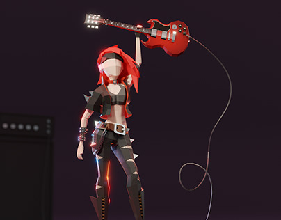 Roxy: lowpoly rock'n'roll girl