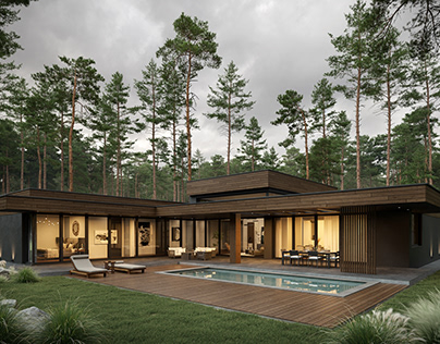 luxury cottage in a pine forest