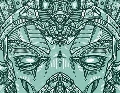 'Ancient Seer' Monoline Illustration