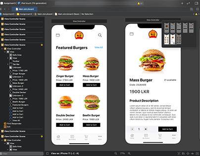 FLAME Burgers iOS UI Design