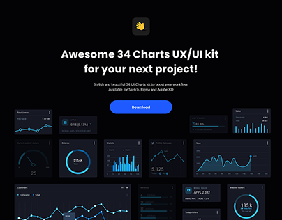 Awesome 34 Charts UX/UI kit for your next project!