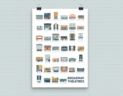 Illustrated Broadway Theaters Poster