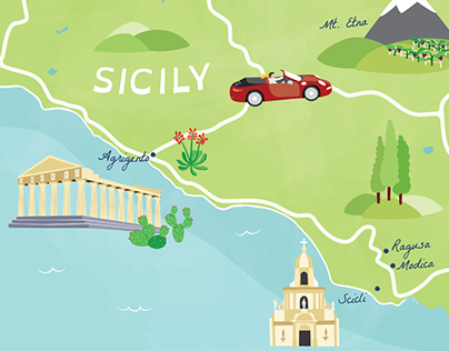 Illustrated map of Sicily for Grand Tourist