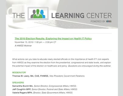 The Learning Center Webinar Email Newsletter