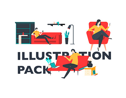 Red Sofa Illustration Pack