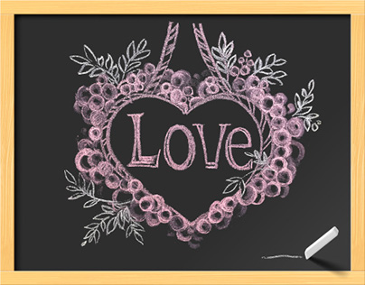 Hand-Draw Chalk for Love Illustration