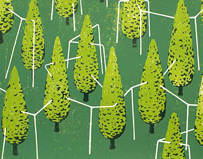 Boomwerk V - linocut print
