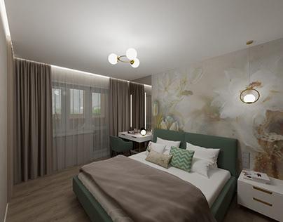 Спальня, балкон, гардеробна