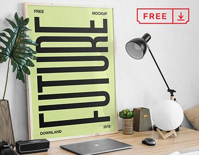 Free Picture Frame on Desk Mockup