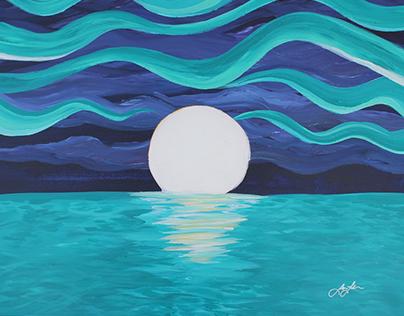 Moon  - Acrylic on Canvas 2X3'