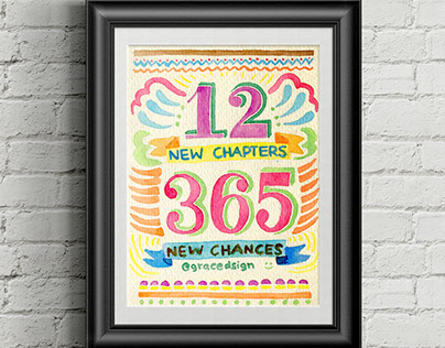 12 New Chapters, 365 New Chances - Hand Lettering