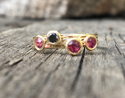 Three Rubies and Black Diamond Ring