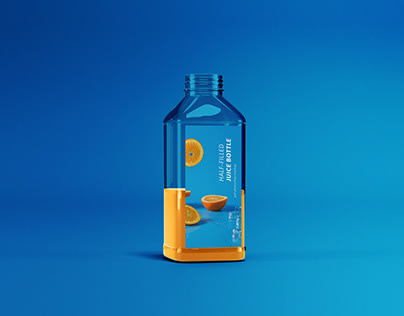 Half-filled Juice Bottle Mockup