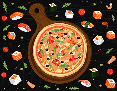 Illustrations of pizza and sushi for restaurant