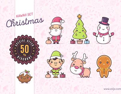 Christmas Kawaii Stock Illustrations