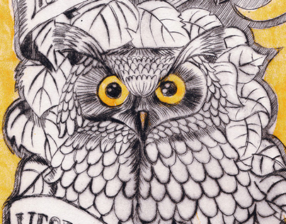 Owl - 2 Color dry point etch