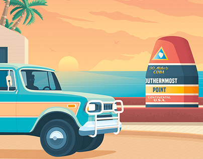 Key West Florida Retro Travel Poster City Illustration