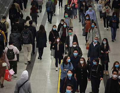 People After Work Go Back to Home Using Facial Mask