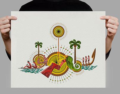 Kerala Tourism Onam Wish Ad Illustration